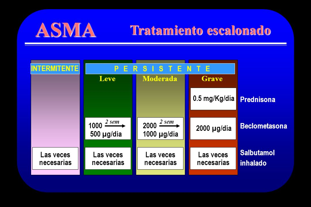 0.5 mg/Kg/día LeveModerada P E R S I S T E N T E Grave Prednisona Beclometasona Salbutamol inhalado Las veces necesarias Las veces necesarias 2000 100