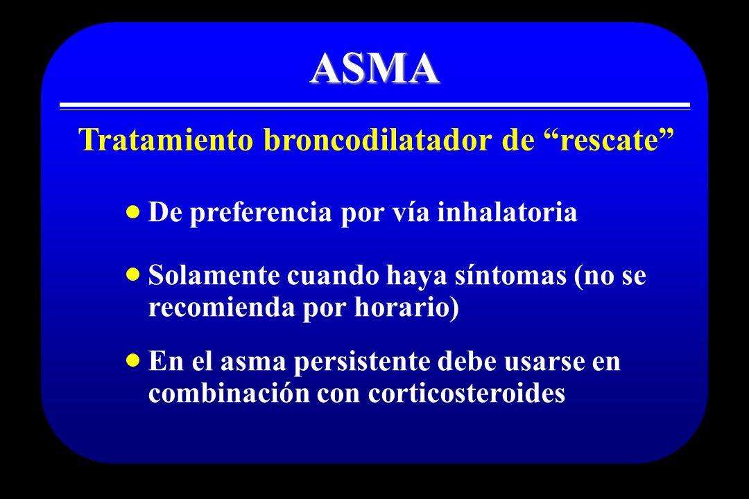 ASMA Tratamiento broncodilatador de rescate En el asma persistente debe usarse en combinación con corticosteroides Solamente cuando haya síntomas (no