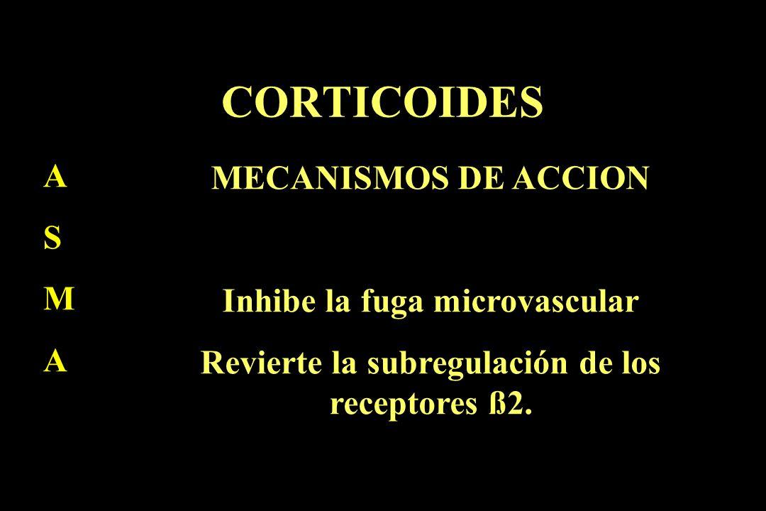 CORTICOIDES A S M A MECANISMOS DE ACCION Inhibe la fuga microvascular Revierte la subregulación de los receptores ß2.