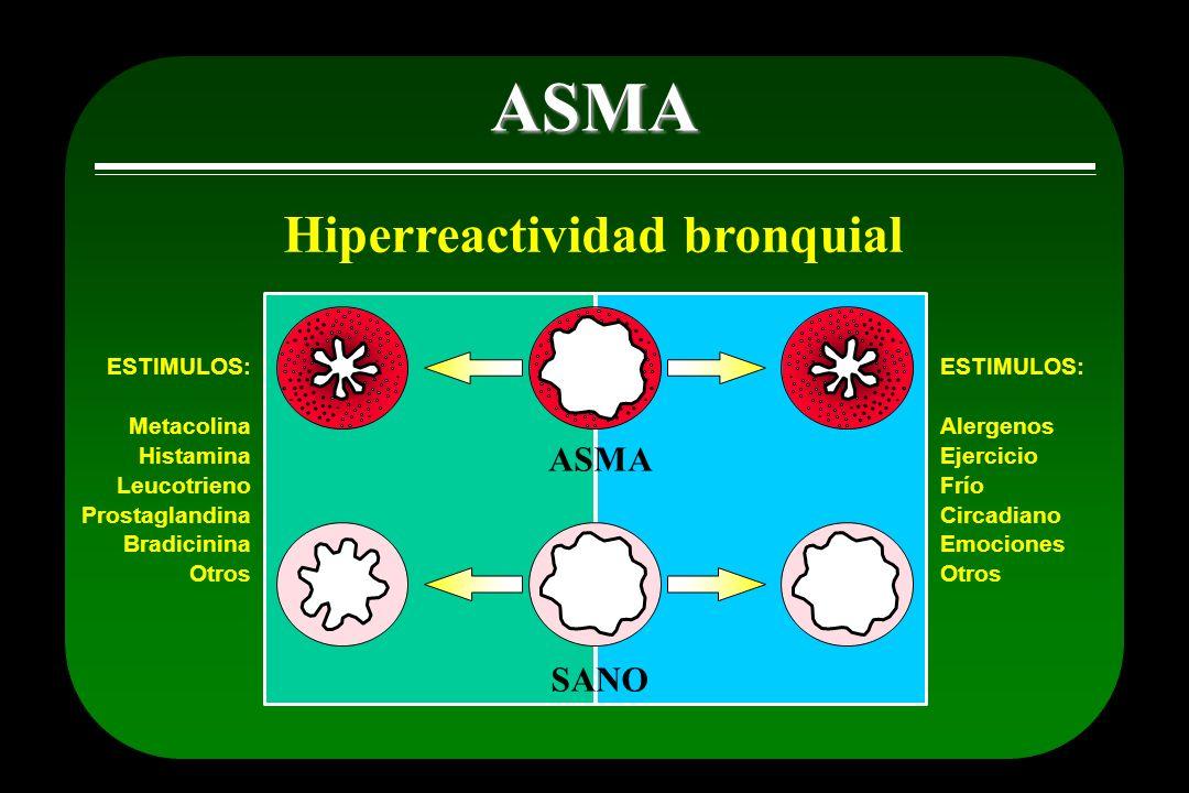 ASMA Hiperreactividad bronquial ESTIMULOS: Metacolina Histamina Leucotrieno Prostaglandina Bradicinina Otros ASMA SANO ESTIMULOS: Alergenos Ejercicio