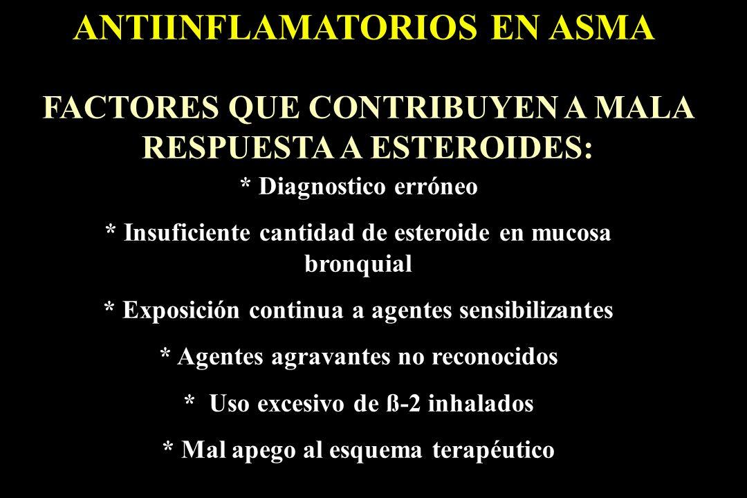 ANTIINFLAMATORIOS EN ASMA FACTORES QUE CONTRIBUYEN A MALA RESPUESTA A ESTEROIDES: * Diagnostico erróneo * Insuficiente cantidad de esteroide en mucosa