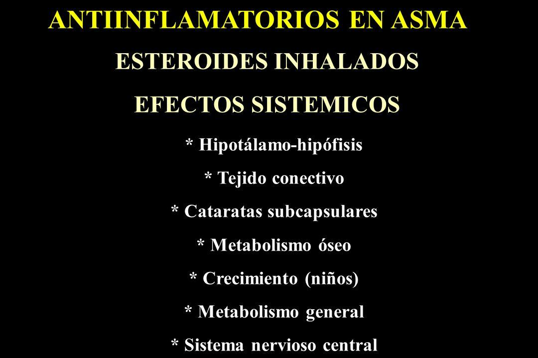 ANTIINFLAMATORIOS EN ASMA ESTEROIDES INHALADOS EFECTOS SISTEMICOS * Hipotálamo-hipófisis * Tejido conectivo * Cataratas subcapsulares * Metabolismo ós