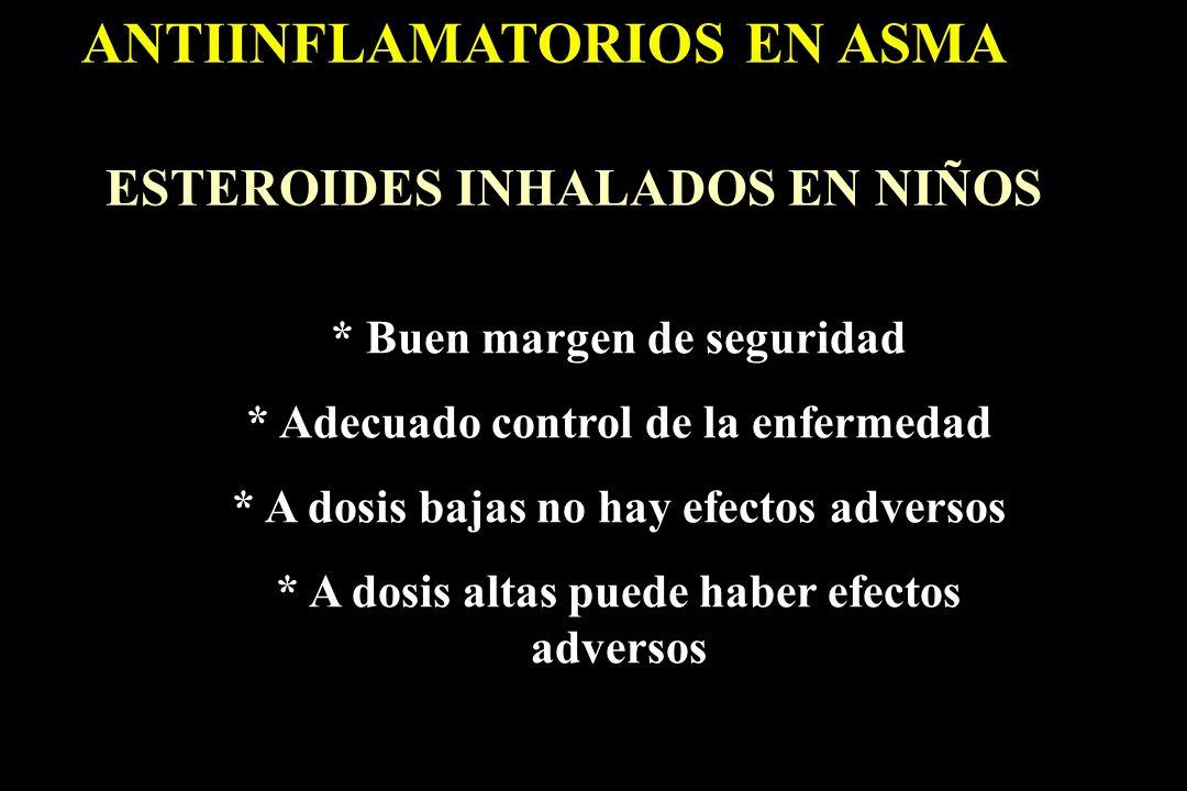 ANTIINFLAMATORIOS EN ASMA ESTEROIDES INHALADOS EN NIÑOS * Buen margen de seguridad * Adecuado control de la enfermedad * A dosis bajas no hay efectos