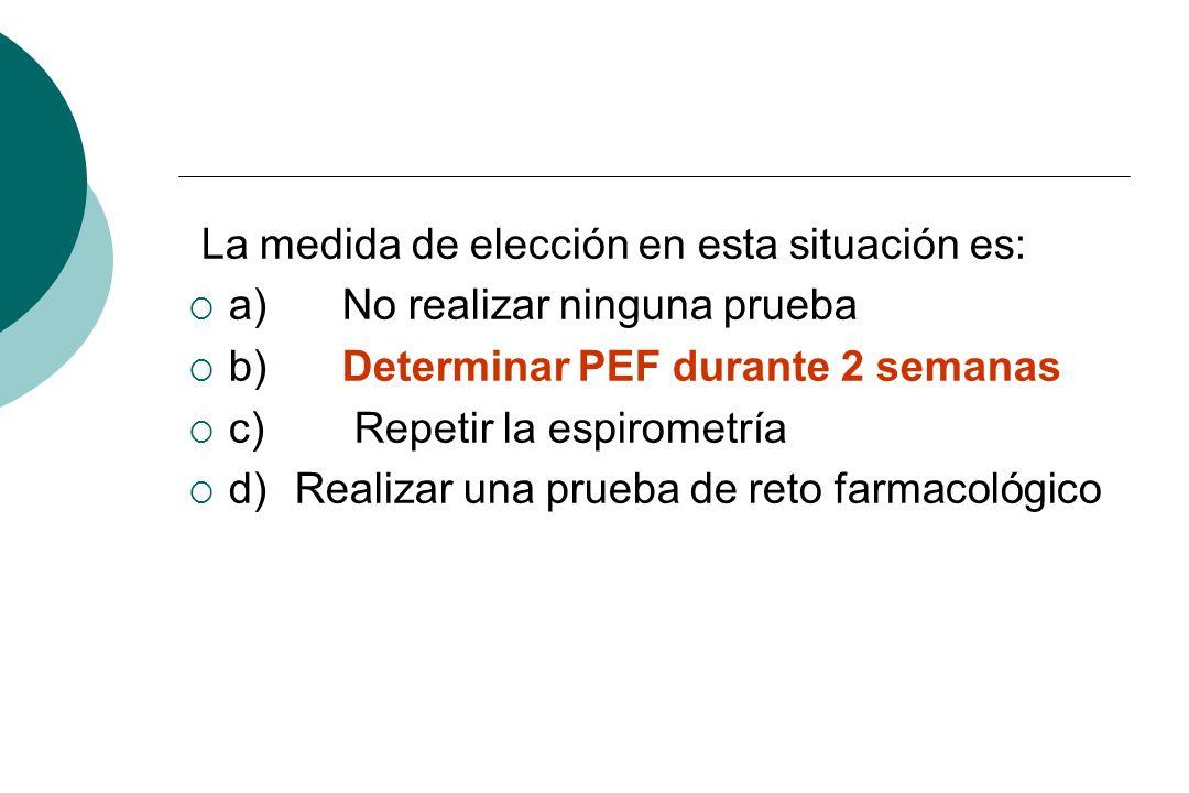 La medida de elección en esta situación es: a) No realizar ninguna prueba b) Determinar PEF durante 2 semanas c) Repetir la espirometría d)Realizar un