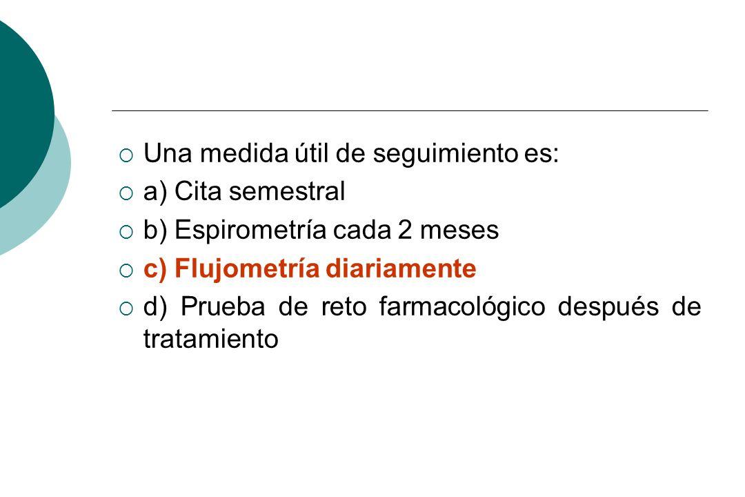 Una medida útil de seguimiento es: a) Cita semestral b) Espirometría cada 2 meses c) Flujometría diariamente d) Prueba de reto farmacológico después d