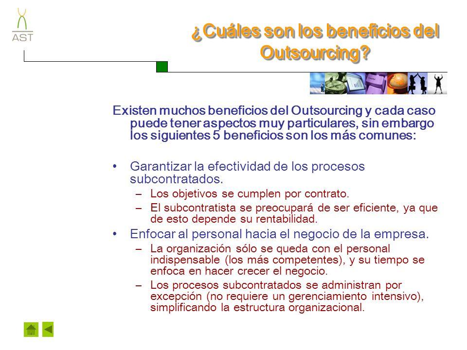 ¿Cuáles son los beneficios del Outsourcing.Controlar costos.