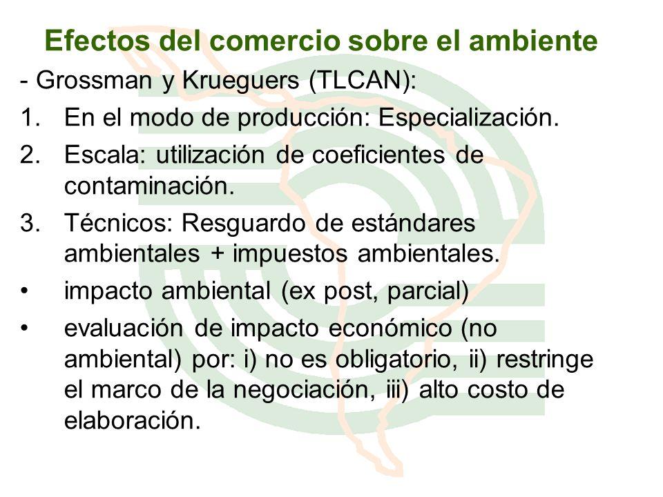 Efectos del comercio sobre el ambiente - Grossman y Krueguers (TLCAN): 1.En el modo de producción: Especialización. 2.Escala: utilización de coeficien