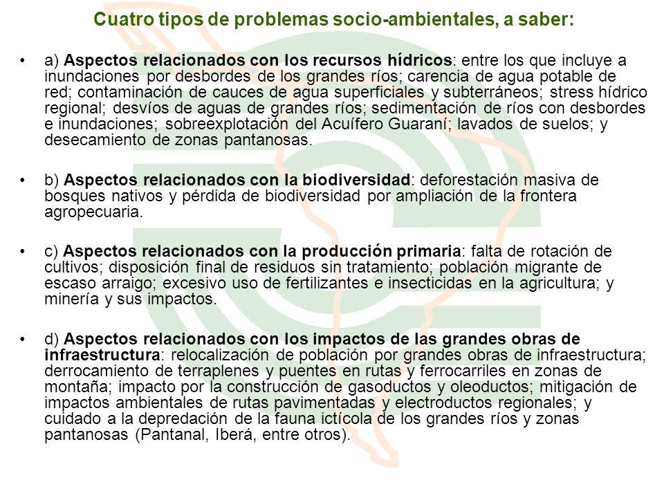 Cuatro tipos de problemas socio-ambientales, a saber: a) Aspectos relacionados con los recursos hídricos: entre los que incluye a inundaciones por des