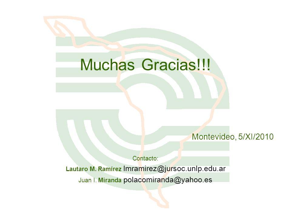 Muchas Gracias!!! Montevideo, 5/XI/2010 Contacto: Lautaro M. Ramírez lmramirez@jursoc.unlp.edu.ar Juan I. Miranda polacomiranda@yahoo.es