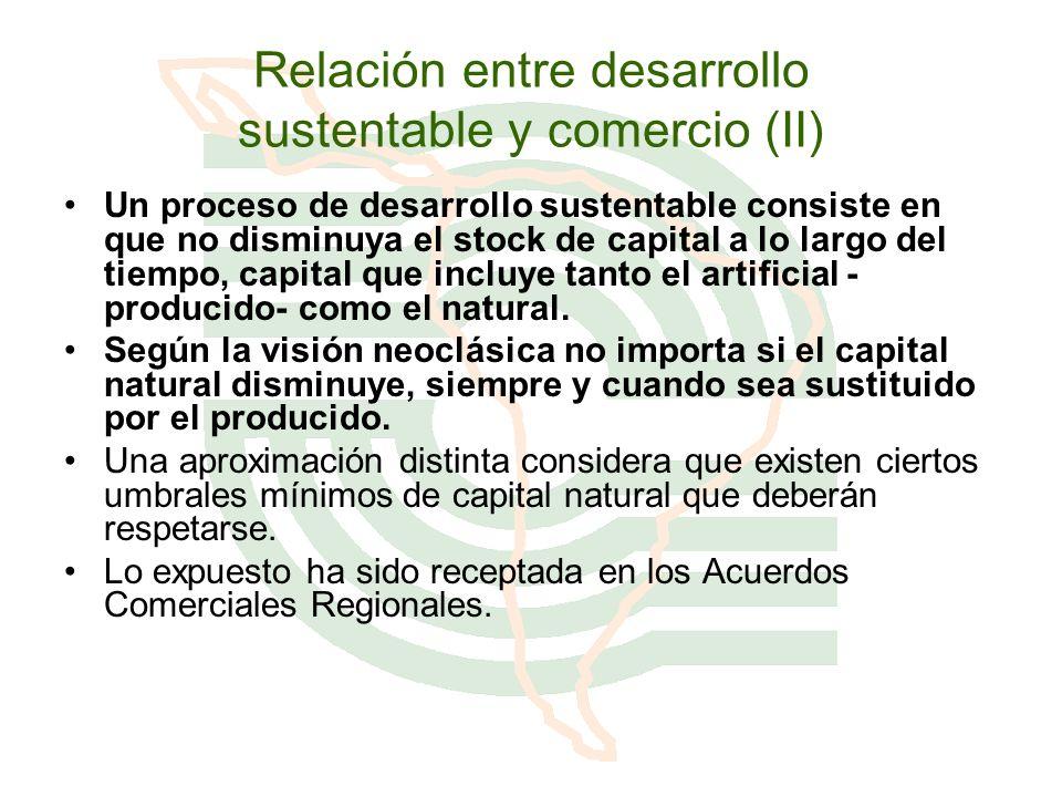 Relación entre desarrollo sustentable y comercio (II) Un proceso de desarrollo sustentable consiste en que no disminuya el stock de capital a lo largo