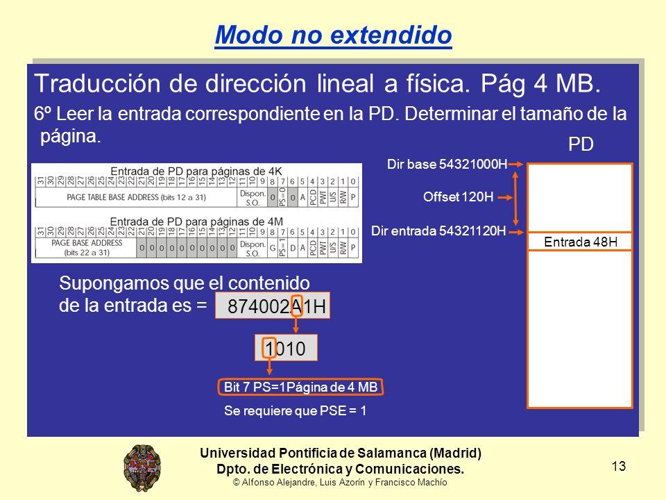 Universidad Pontificia de Salamanca (Madrid) Dpto. de Electrónica y Comunicaciones. © Alfonso Alejandre, Luis Azorín y Francisco Machío 13 Modo no ext