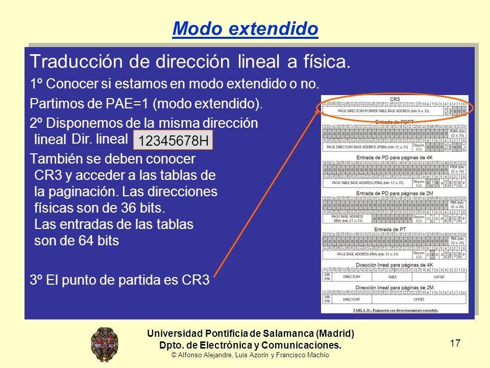 Universidad Pontificia de Salamanca (Madrid) Dpto. de Electrónica y Comunicaciones. © Alfonso Alejandre, Luis Azorín y Francisco Machío 17 Modo extend