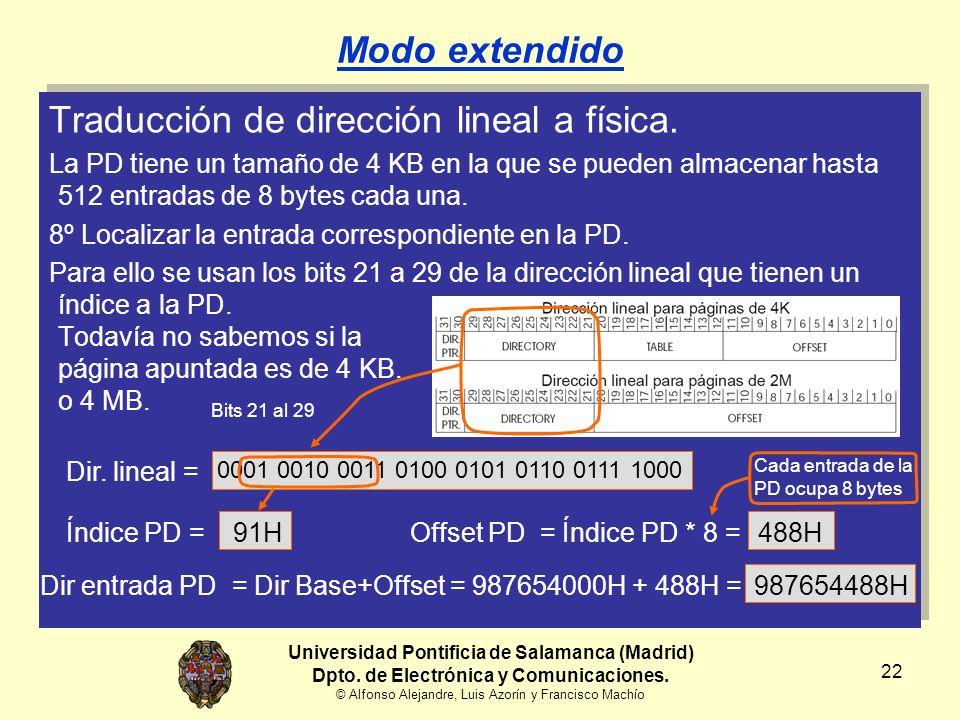 Universidad Pontificia de Salamanca (Madrid) Dpto. de Electrónica y Comunicaciones. © Alfonso Alejandre, Luis Azorín y Francisco Machío 22 Modo extend