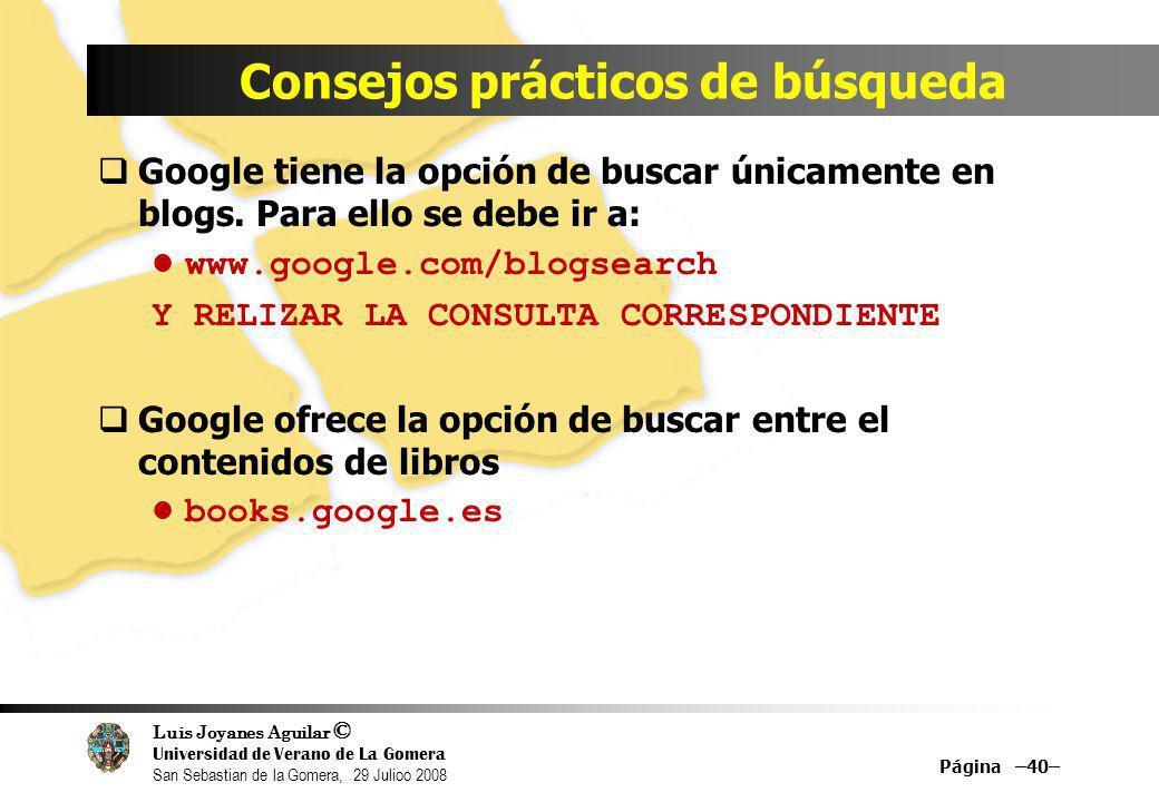 Luis Joyanes Aguilar © Universidad de Verano de La Gomera San Sebastian de la Gomera, 29 Julioo 2008 Google tiene la opción de buscar únicamente en bl