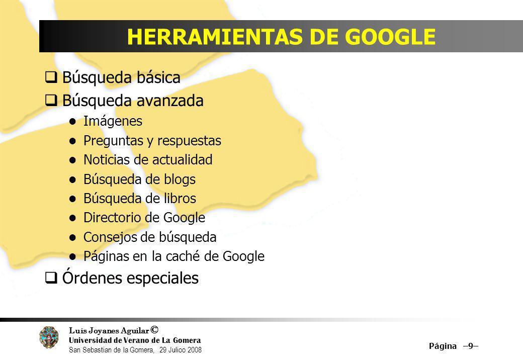 Luis Joyanes Aguilar © Universidad de Verano de La Gomera San Sebastian de la Gomera, 29 Julioo 2008 Google Pack (Software gratuito) Página –30–