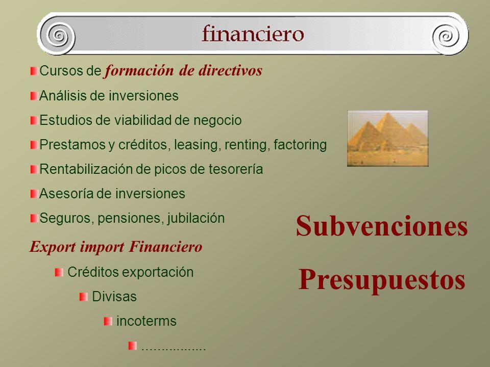 Cursos de formación de directivos Análisis de inversiones Estudios de viabilidad de negocio Prestamos y créditos, leasing, renting, factoring Rentabil