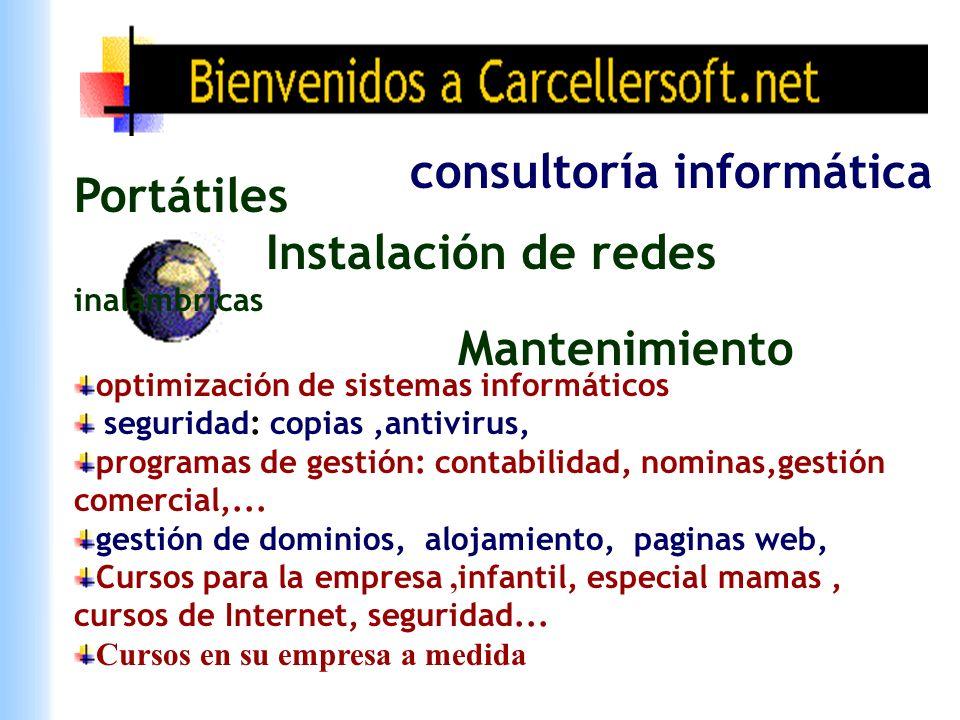 Portátiles Instalación de redes inalámbricas Mantenimiento consultoría informática optimización de sistemas informáticos seguridad: copias,antivirus,