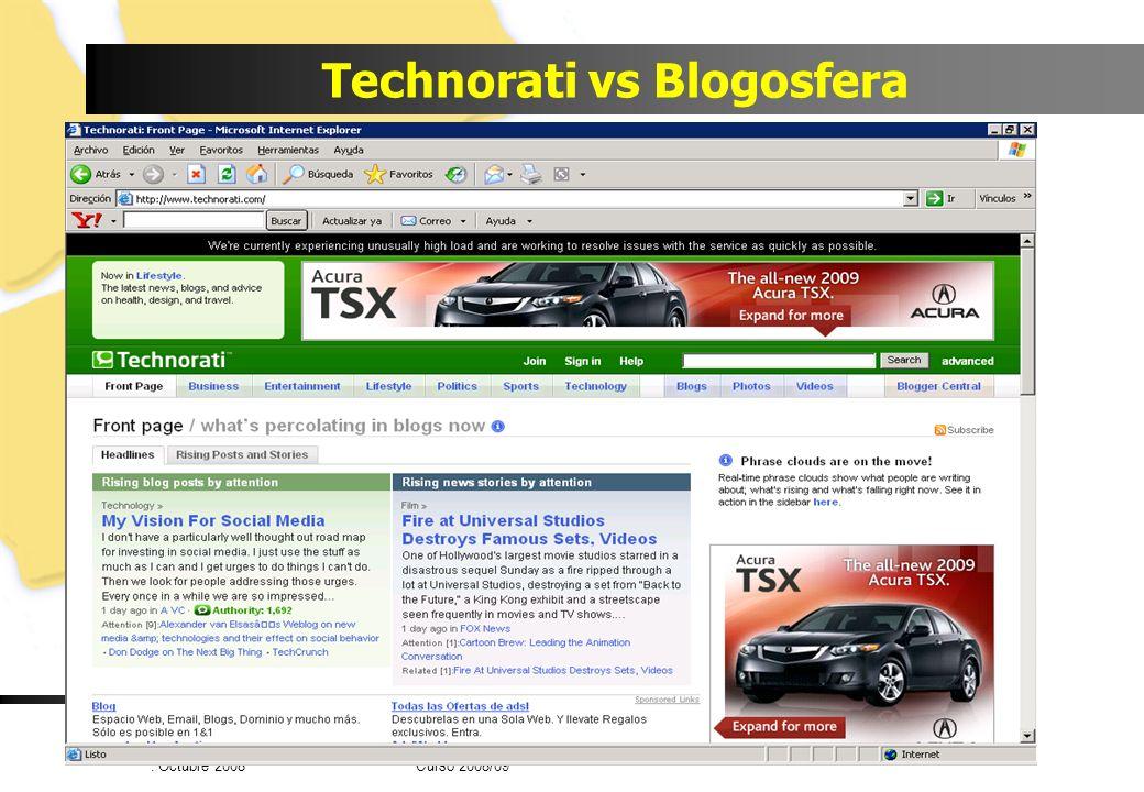 Luis Joyanes Aguilar © Universidad Pontificia de Salamanca. Octubre 2008 Curso 2008/09 Technorati vs Blogosfera