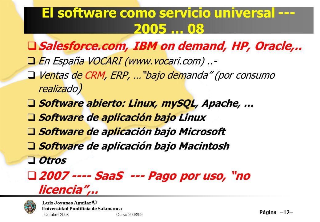 Luis Joyanes Aguilar © Universidad Pontificia de Salamanca. Octubre 2008 Curso 2008/09 Página –12– El software como servicio universal --- 2005 … 08 S