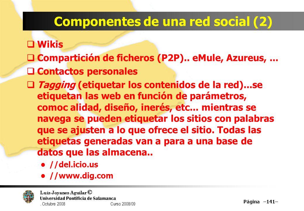 Luis Joyanes Aguilar © Universidad Pontificia de Salamanca. Octubre 2008 Curso 2008/09 Componentes de una red social (2) Wikis Compartición de fichero