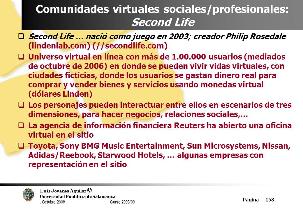 Luis Joyanes Aguilar © Universidad Pontificia de Salamanca. Octubre 2008 Curso 2008/09 Página –158– Comunidades virtuales sociales/profesionales: Seco