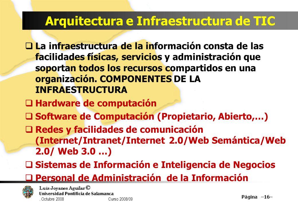 Luis Joyanes Aguilar © Universidad Pontificia de Salamanca. Octubre 2008 Curso 2008/09 Arquitectura e Infraestructura de TIC La infraestructura de la