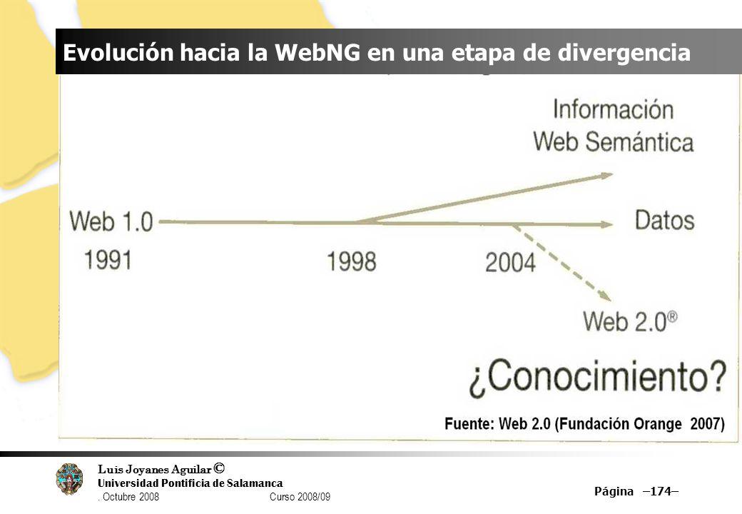 Luis Joyanes Aguilar © Universidad Pontificia de Salamanca. Octubre 2008 Curso 2008/09 Página –174– Evolución hacia la WebNG en una etapa de divergenc