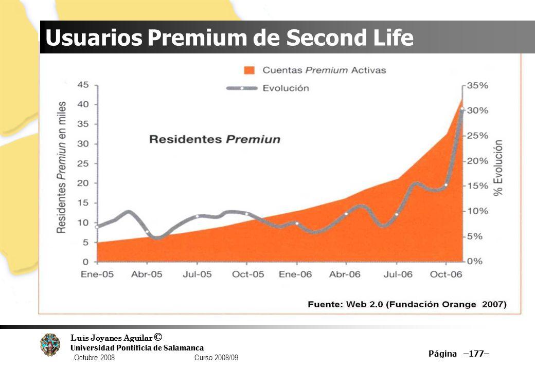 Luis Joyanes Aguilar © Universidad Pontificia de Salamanca. Octubre 2008 Curso 2008/09 Página –177– Usuarios Premium de Second Life