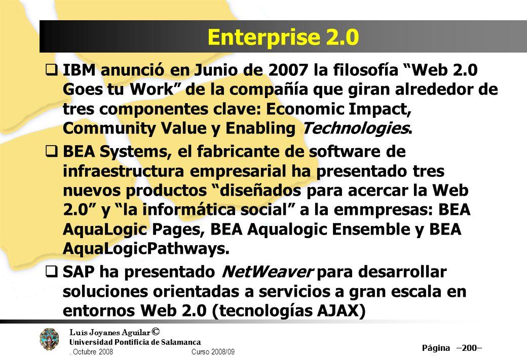 Luis Joyanes Aguilar © Universidad Pontificia de Salamanca. Octubre 2008 Curso 2008/09 Página –200– Enterprise 2.0 IBM anunció en Junio de 2007 la fil