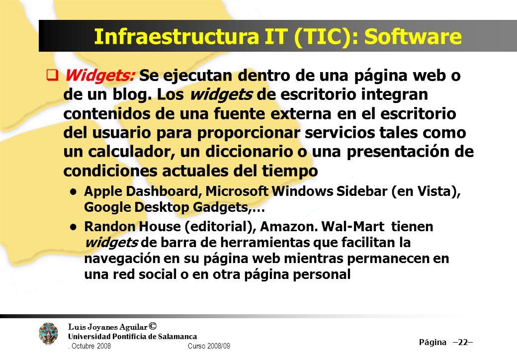 Luis Joyanes Aguilar © Universidad Pontificia de Salamanca. Octubre 2008 Curso 2008/09 Infraestructura IT (TIC): Software Página –22– Widgets: Se ejec