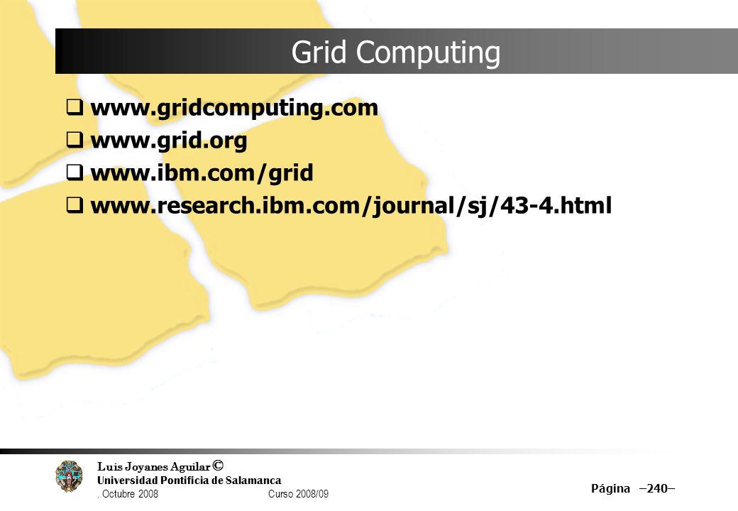 Luis Joyanes Aguilar © Universidad Pontificia de Salamanca. Octubre 2008 Curso 2008/09 Página –240– Grid Computing www.gridcomputing.com www.grid.org