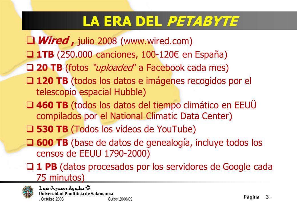 Luis Joyanes Aguilar © Universidad Pontificia de Salamanca. Octubre 2008 Curso 2008/09 LA ERA DEL PETABYTE Wired, julio 2008 (www.wired.com) 1TB (250.