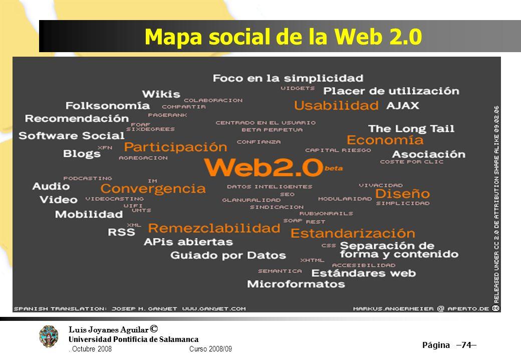 Luis Joyanes Aguilar © Universidad Pontificia de Salamanca. Octubre 2008 Curso 2008/09 Mapa social de la Web 2.0 Página –74–