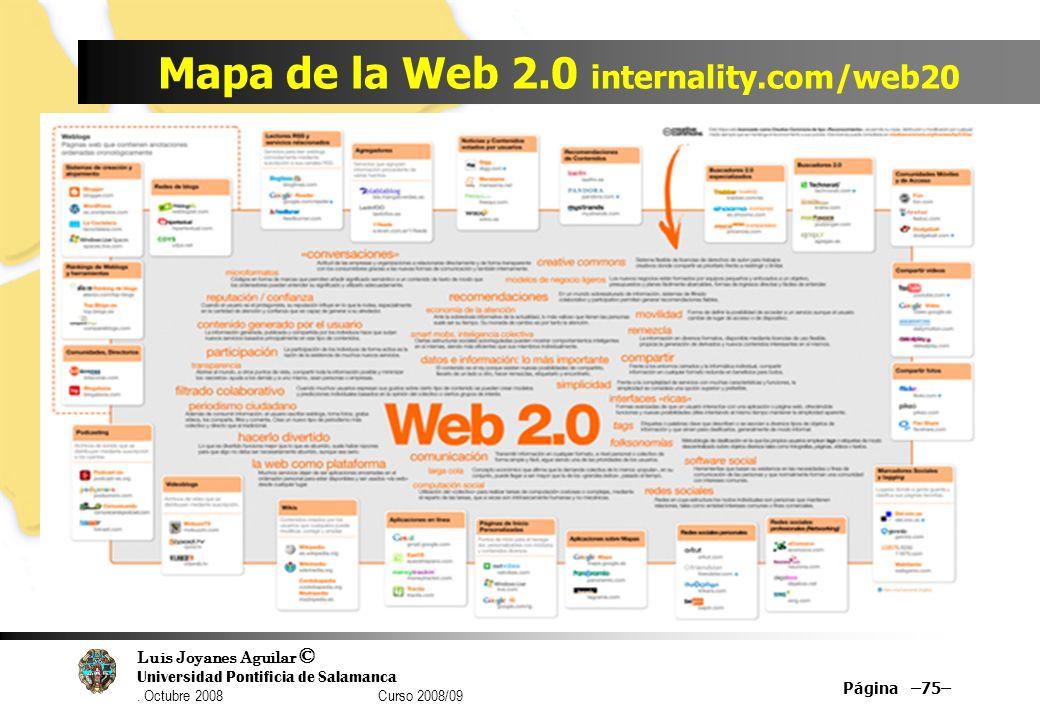 Luis Joyanes Aguilar © Universidad Pontificia de Salamanca. Octubre 2008 Curso 2008/09 Mapa de la Web 2.0 internality.com/web20 Página –75–