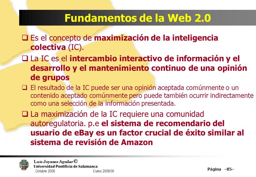 Luis Joyanes Aguilar © Universidad Pontificia de Salamanca. Octubre 2008 Curso 2008/09 Página –85– Fundamentos de la Web 2.0 Es el concepto de maximiz