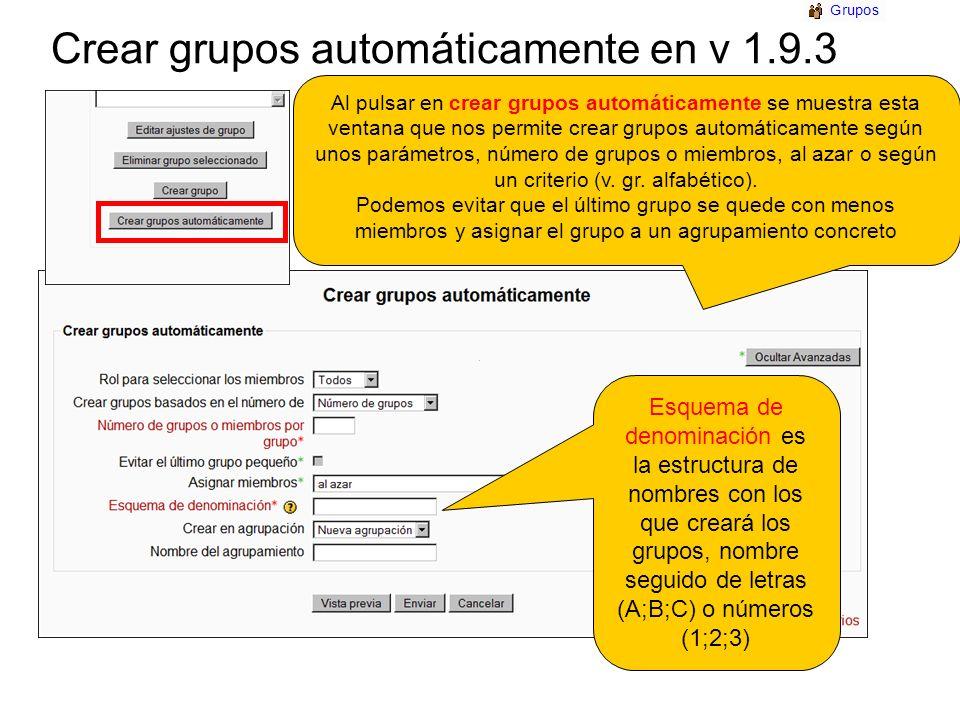 Crear grupos automáticamente en v 1.9.3 Esquema de denominación es la estructura de nombres con los que creará los grupos, nombre seguido de letras (A