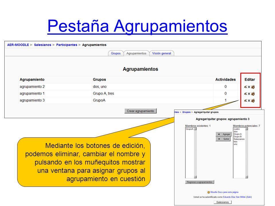 Pestaña Agrupamientos Mediante los botones de edición, podemos eliminar, cambiar el nombre y pulsando en los muñequitos mostrar una ventana para asign