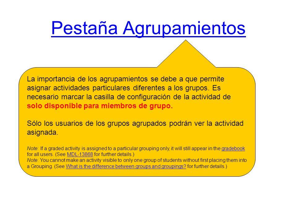 Pestaña Agrupamientos La importancia de los agrupamientos se debe a que permite asignar actividades particulares diferentes a los grupos. Es necesario