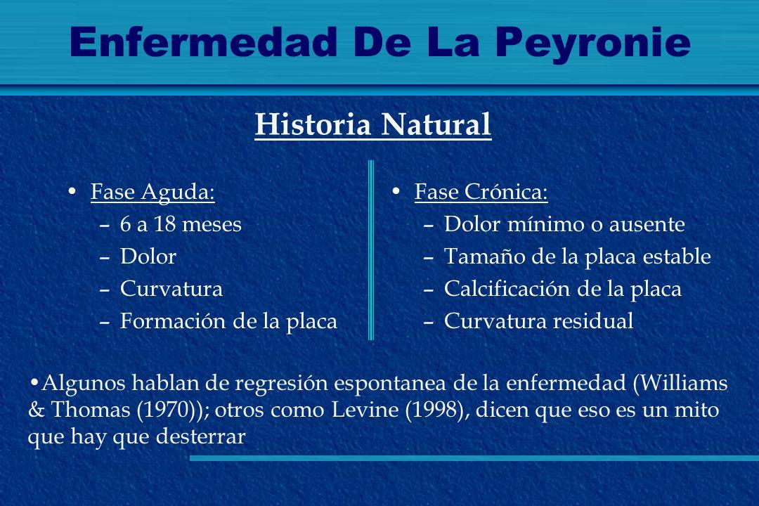 Enfermedad De La Peyronie Fase Aguda: –6 a 18 meses –Dolor –Curvatura –Formación de la placa Historia Natural Fase Crónica: –Dolor mínimo o ausente –T