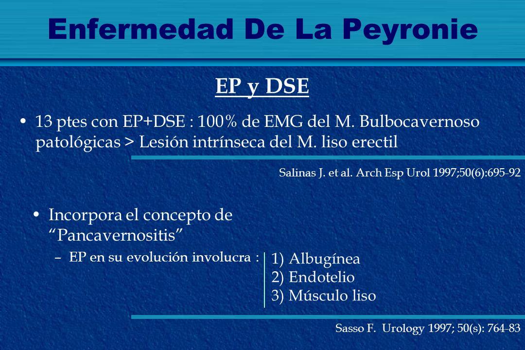 Enfermedad De La Peyronie 13 ptes con EP+DSE : 100% de EMG del M. Bulbocavernoso patológicas > Lesión intrínseca del M. liso erectil EP y DSE Incorpor