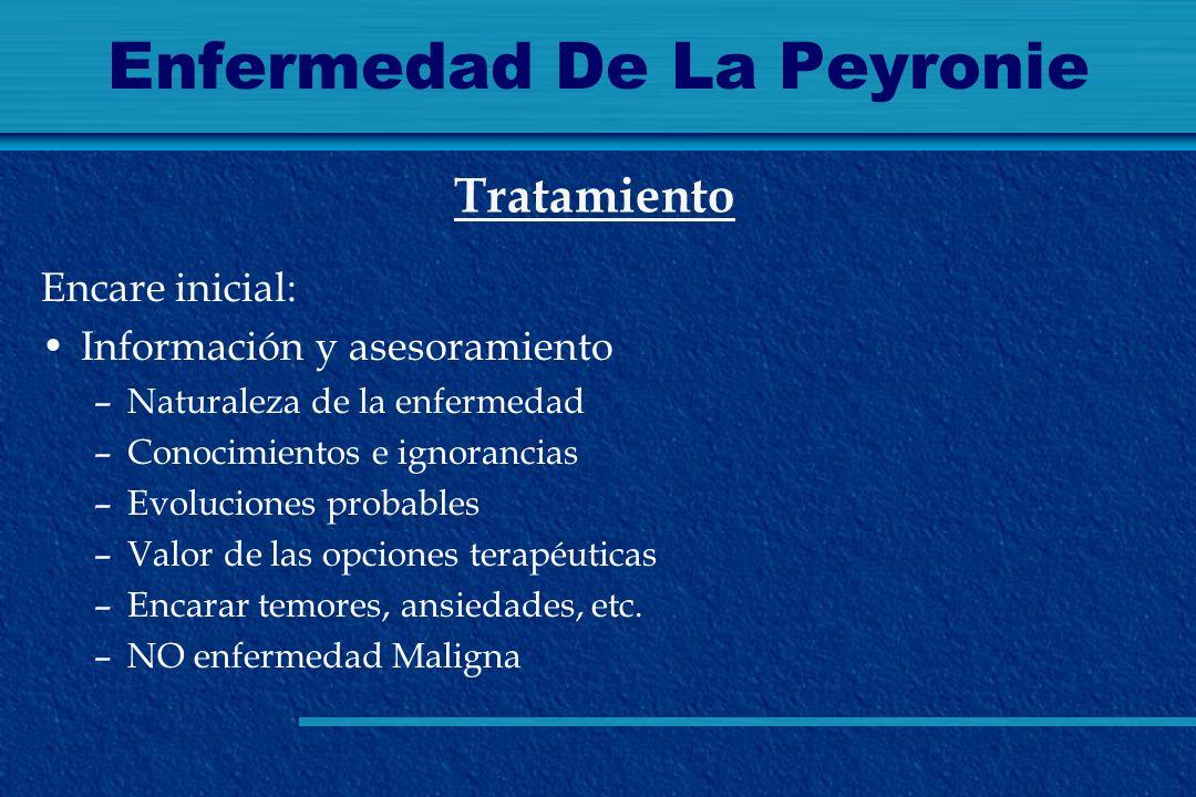 Enfermedad De La Peyronie Encare inicial: Información y asesoramiento –Naturaleza de la enfermedad –Conocimientos e ignorancias –Evoluciones probables
