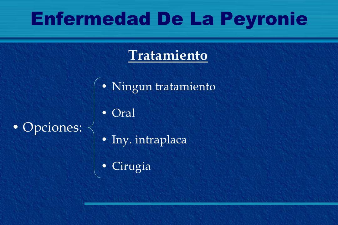 Enfermedad De La Peyronie Opciones: Tratamiento Ningun tratamiento Oral Iny. intraplaca Cirugia