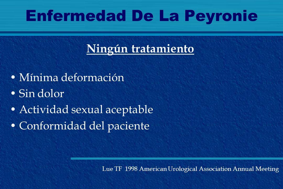 Enfermedad De La Peyronie Mínima deformación Sin dolor Actividad sexual aceptable Conformidad del paciente Ningún tratamiento Lue TF 1998 American Uro