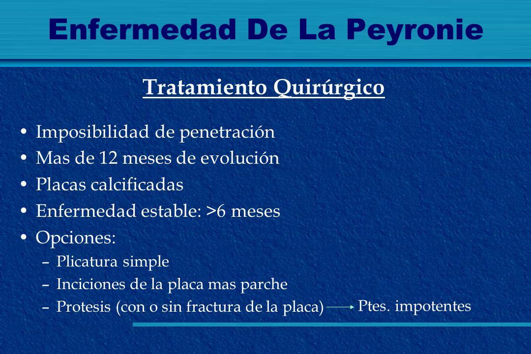 Enfermedad De La Peyronie Imposibilidad de penetración Mas de 12 meses de evolución Placas calcificadas Enfermedad estable: >6 meses Opciones: –Plicat