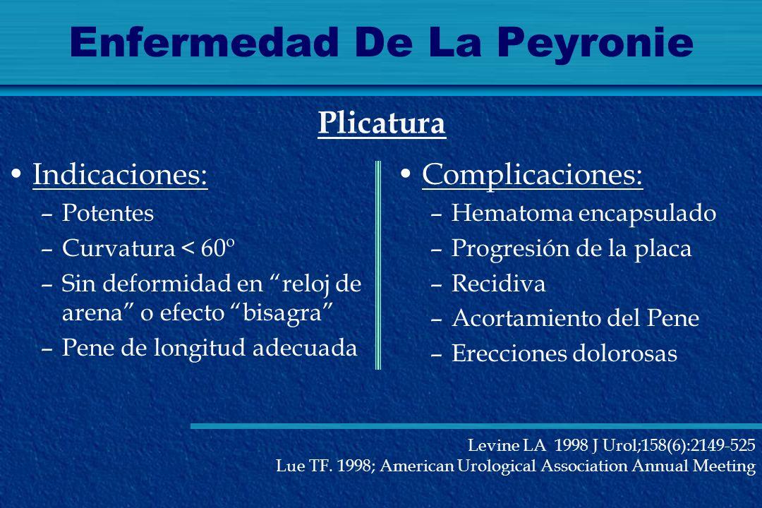 Enfermedad De La Peyronie Indicaciones: –Potentes –Curvatura < 60º –Sin deformidad en reloj de arena o efecto bisagra –Pene de longitud adecuada Plica