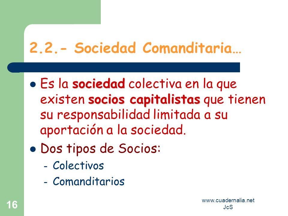 www.cuadernalia.net JcS 16 2.2.- Sociedad Comanditaria… sociedad socios capitalistas Es la sociedad colectiva en la que existen socios capitalistas qu