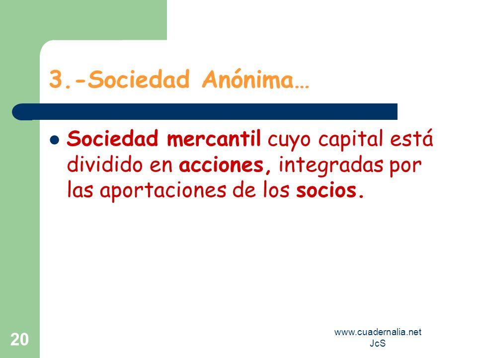 www.cuadernalia.net JcS 20 3.-Sociedad Anónima… Sociedad mercantil cuyo capital está dividido en acciones, integradas por las aportaciones de los soci