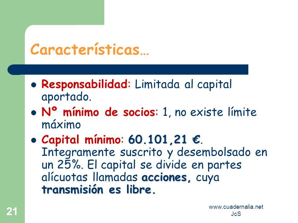 www.cuadernalia.net JcS 21 Características… Responsabilidad: Limitada al capital aportado. Nº mínimo de socios: 1, no existe límite máximo 60.101,21 a