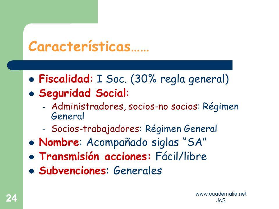 www.cuadernalia.net JcS 24 Características…… Fiscalidad: I Soc. (30% regla general) Seguridad Social: – Administradores, socios-no socios: Régimen Gen