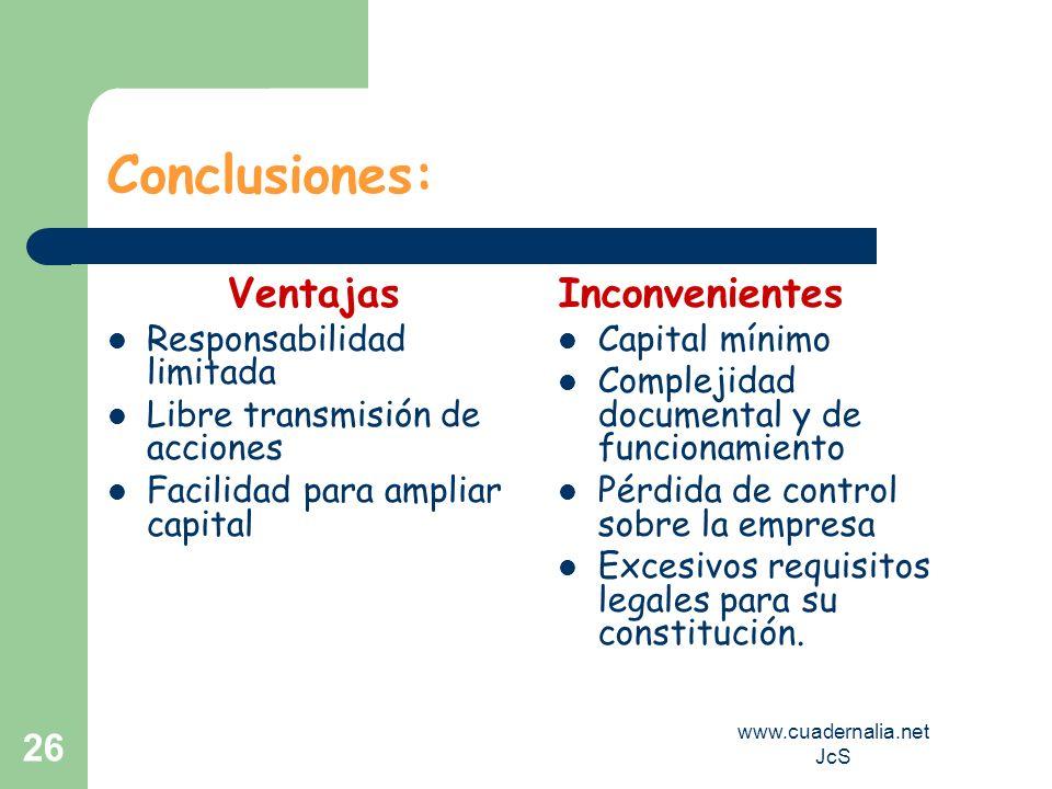 www.cuadernalia.net JcS 26 Conclusiones: Ventajas Responsabilidad limitada Libre transmisión de acciones Facilidad para ampliar capital Inconvenientes